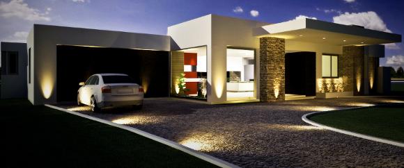 Master Homes - Moderna casa de un piso con garage creada con Steel Framing